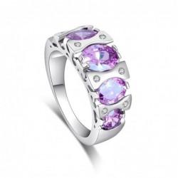 Original anillo con piedras púrpura - Talla 19
