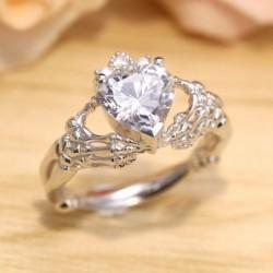 Anillo de boda plateado con piedra blanca - Talla 14