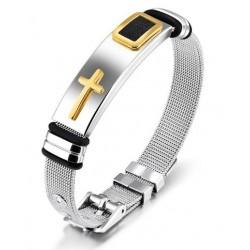 Pulsera de acero diseño religioso para hombres