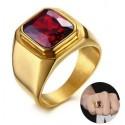 Anillo piedra roja personalizado
