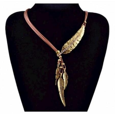 Collar cordón con plumas doradas