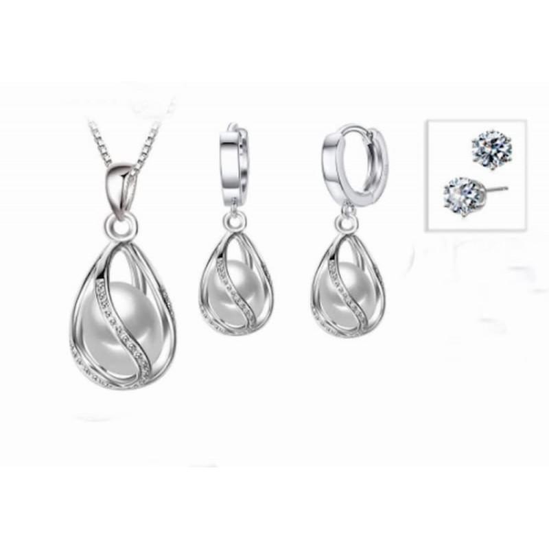 Set de collar y pendientes acabados en plata con perlas