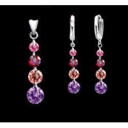 conjunto de collar y pendientes con piedras multicolor