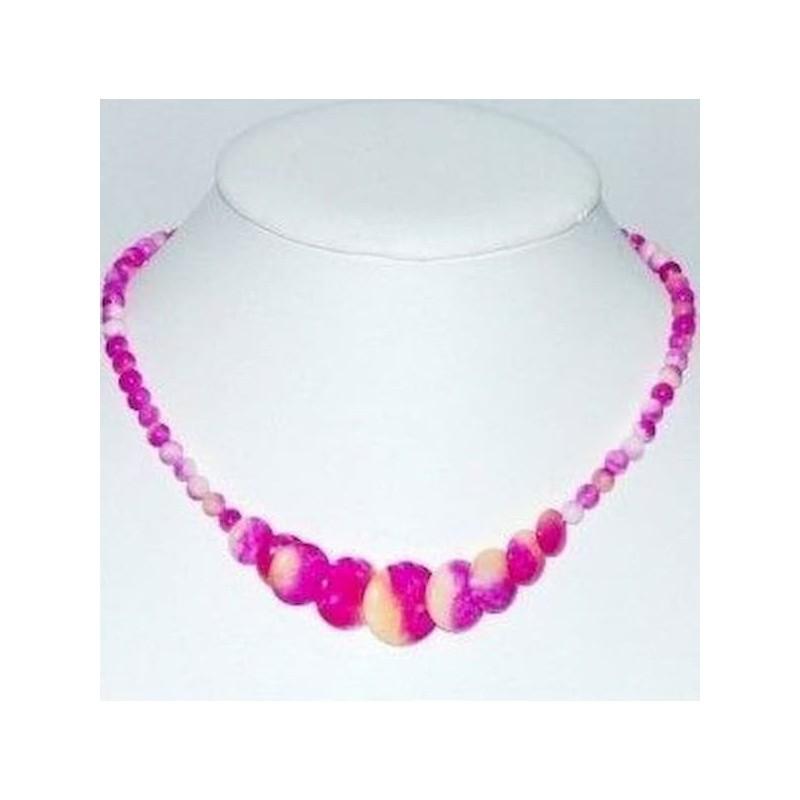 Collar de perlas de jade de dos tonos