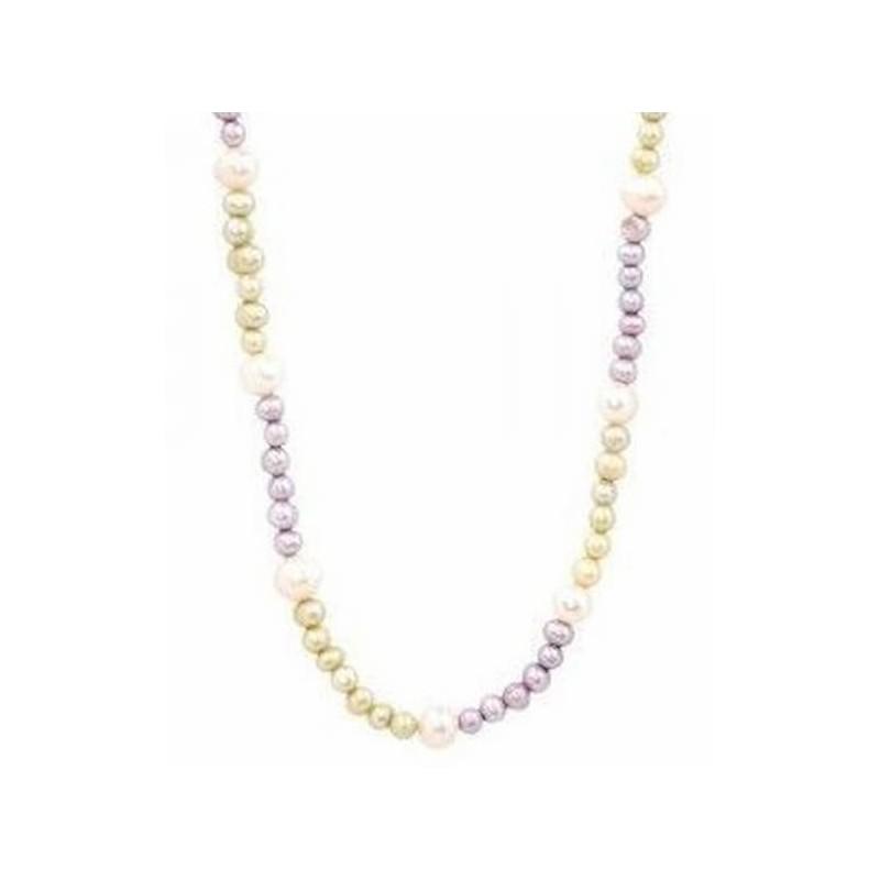 Collar de perlas blancas y purpura