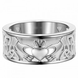 Anillo céltico Claddagh bañado en plata fina