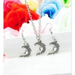 Conjunto de collar y pendientes Media Luna