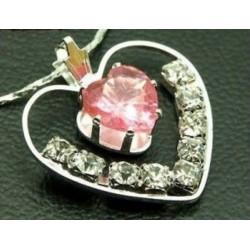 collar de mujer cristal rosa