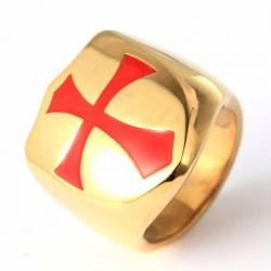 anillo templario dorado