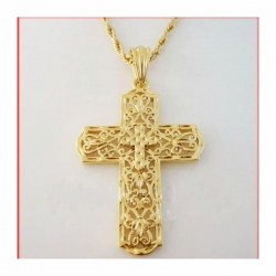Collar dorado cruz catolica