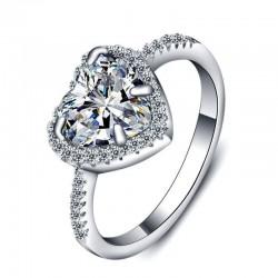 anillo corazón de plata y diamantes