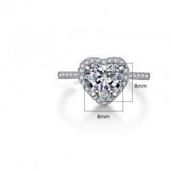 Alianza corazón de plata y diamantes