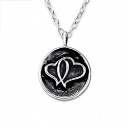collar de plata 925 con dos corazones