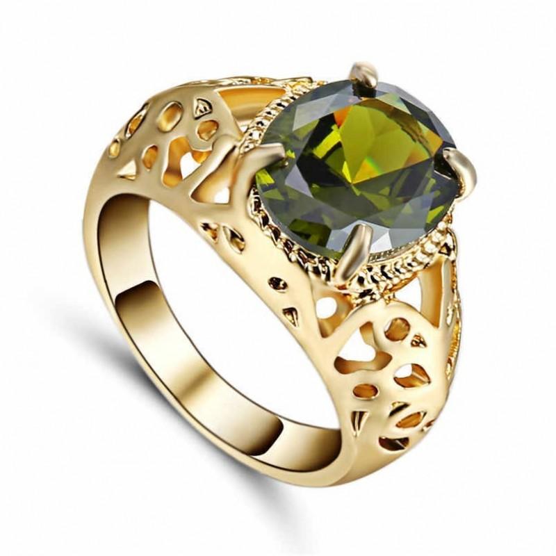 Anillo piedra verde oliva