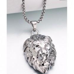 Collar con diseño de cabeza de león chapado en oro