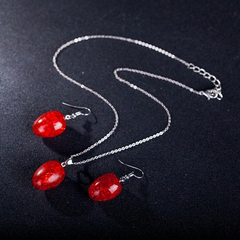 Conjunto de collar y pendientes c/piedra roja