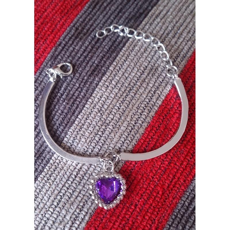 Pulsera articulada  con colgante púrpura