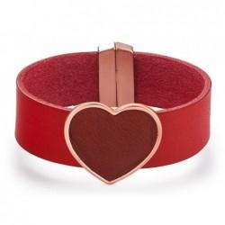 Brazalete de piel roja con corazón para mujer