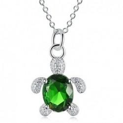 Collar con baño de plata y colgante tortuga verde para mujer