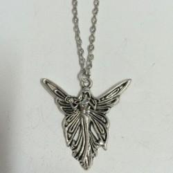 Collar unisex con baño de plata y colgante angel