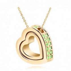Collar dorado para mujer con corazón dentro de corazón