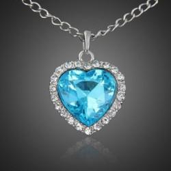 Collar bañado en plata para mujer con corazón de cristal azul