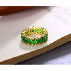 Anillo sin fin con piedras verde esmeralda - Talla 19