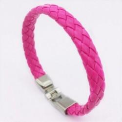 Pulsera símil piel color rosa y acero para mujer