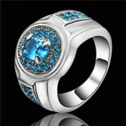 Anillo con baño de plata y piedras azules - Talla 19
