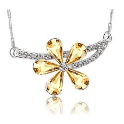 Collar de mujer con flor de cristal amarillo