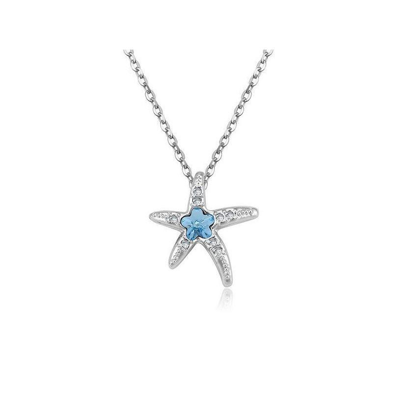 Collar estrella de mar con piedra azul claro para mujer