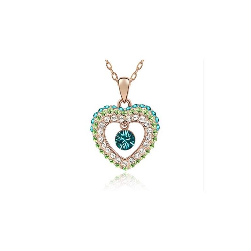 Collar corazón con piedras de colores para mujer