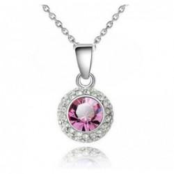 Collar de mujer con colgante redondo y piedra rosa