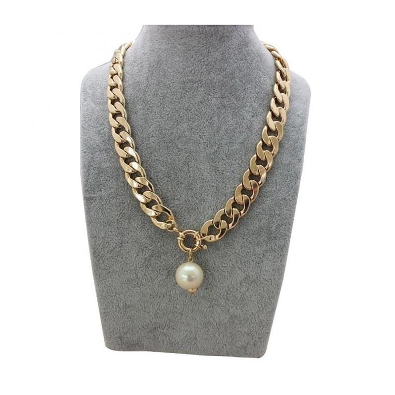 Collar de aluminio con perla para mujer