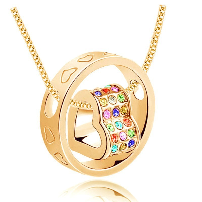Collar de mujer chapado en oro de 9k y piedras cristal multicolor