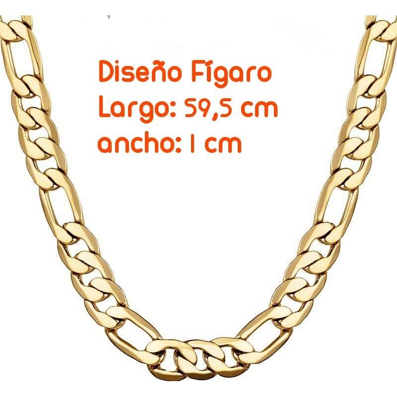 Cadena dorada de 60cm de largo  y 1cm de ancho