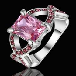 Anillo de mujer con piedra cristal rosa - Talla 17
