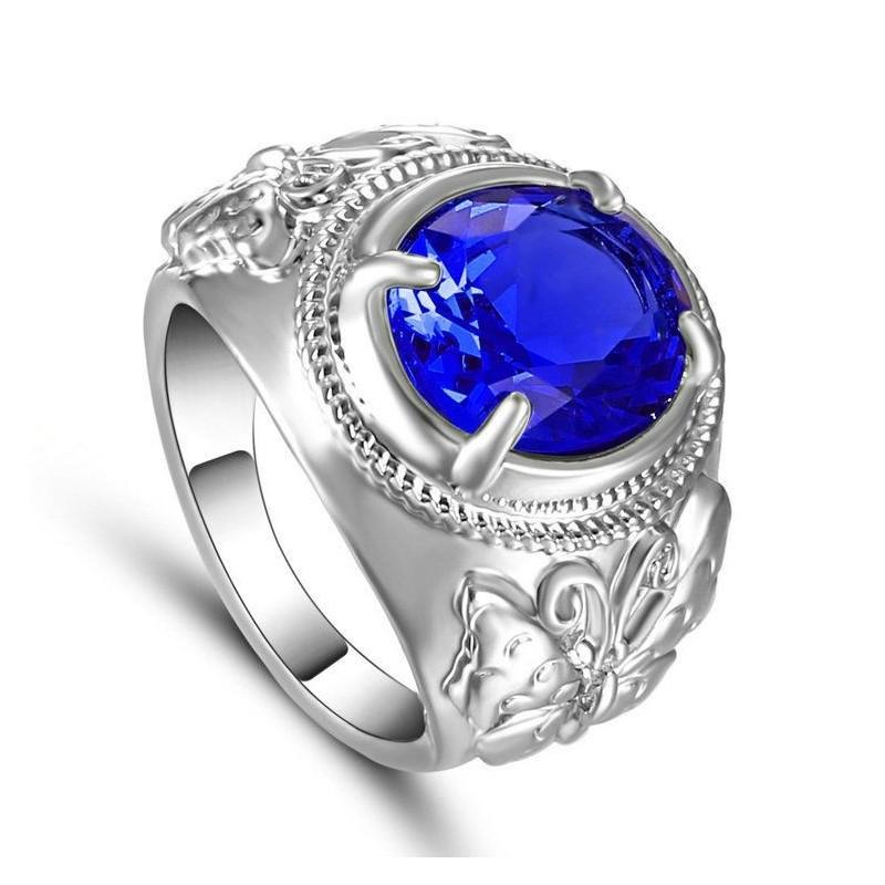 Anillo chapado en plata con piedra azul - Talla 19