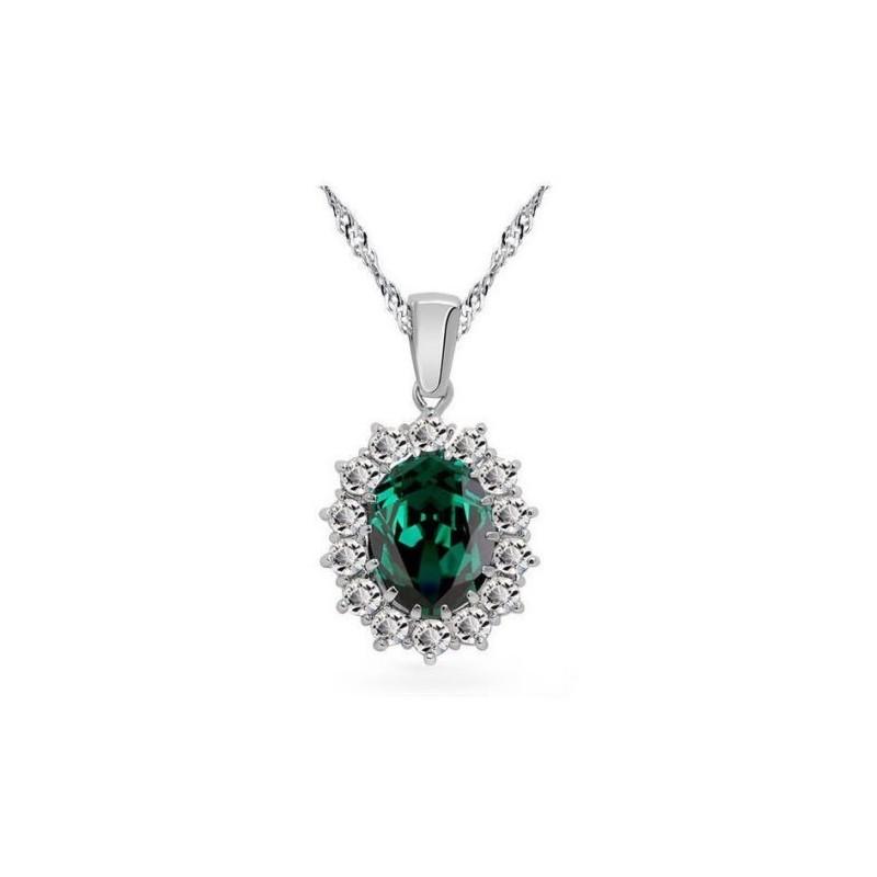 Collar plateado con colgante verde esmeralda
