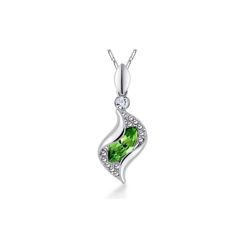 Collar plateado con piedra oval verde