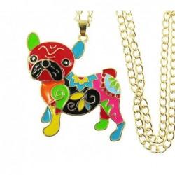 Collar dorado con colgante perro esmaltado - 5X4 cm