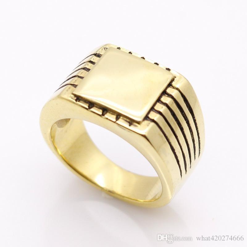 Anillo dorado  de sello-Talla 24