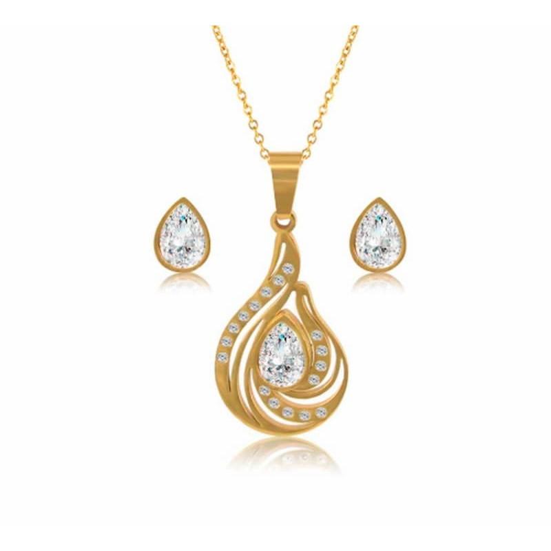 Conjunto de joyería color dorado